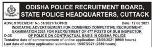 Odisha Police Sub-Inspector Recruitment 2021